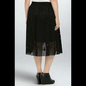Torrid Womens Skirt Plus Black Mesh Stripe A Line